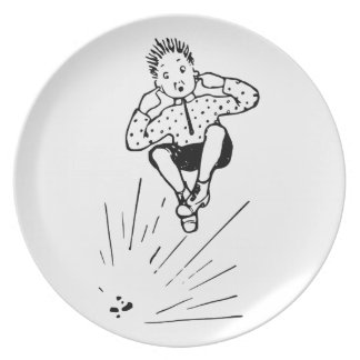 Boy Playing With Firework Illustration Plate