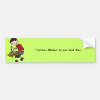 Boy Playing With Toys 2 Bumper Sticker