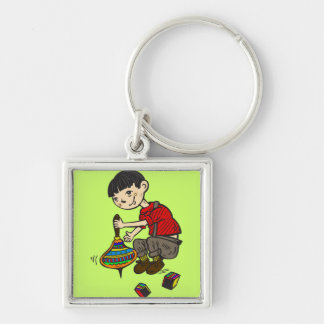 Boy Playing With Toys 2 Key Chain