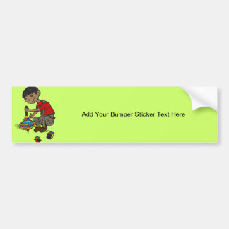 Boy Playing With Toys Bumper Sticker