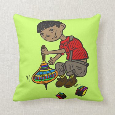 Boy Playing With Toys Throw Pillows