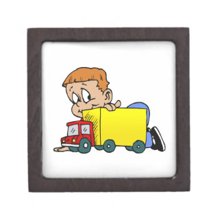 Boy playing with truck jewelry box