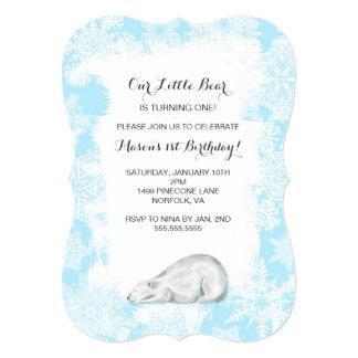 Boy Polar Bear Winter Birthday Party Invite