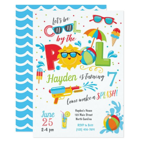 Boy Pool Party Invitation, Summer Birthday Invitation