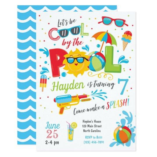 Boy Pool Party Invitation Summer Birthday Invitation Zazzle Com