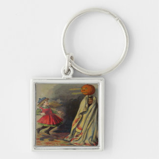 Boy Pranked Girl Silver-Colored Square Keychain