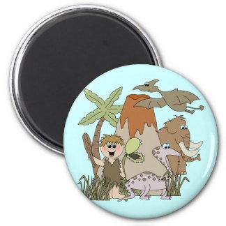 Boy Prehistoric Life 2 Inch Round Magnet