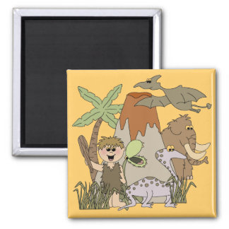 Boy Prehistoric LIfeTshirts and Gifts 2 Inch Square Magnet