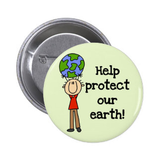 Boy Protect Our Earth T-shirts and Gifts 2 Inch Round Button