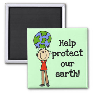 Boy Protect Our Earth T-shirts and Gifts 2 Inch Square Magnet