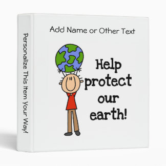 Boy Protect Our Earth T-shirts and Gifts 3 Ring Binder