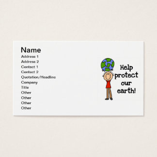 Boy Protect Our Earth T-shirts and Gifts Business Card