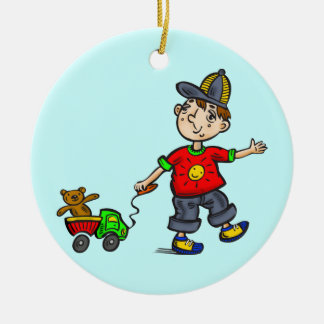 Boy Pulling Toy 2 Double-Sided Ceramic Round Christmas Ornament