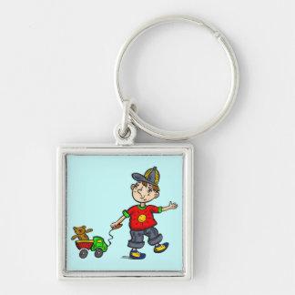 Boy Pulling Toy 2 Keychains