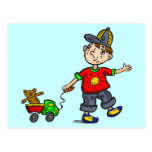 Boy Pulling Toy 2 Post Cards