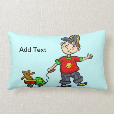 Boy Pulling Toy 2 Throw Pillows