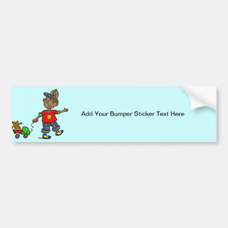 Boy Pulling Toy Bumper Sticker