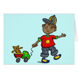 Boy Pulling Toy Card