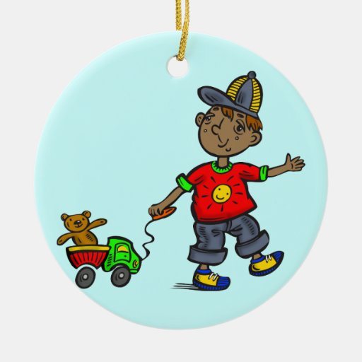 Boy Pulling Toy Double-Sided Ceramic Round Christmas Ornament