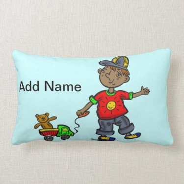 Boy Pulling Toy Throw Pillow