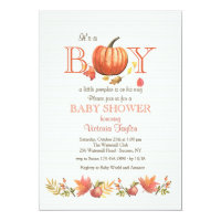 Boy Pumpkin Baby Shower Invitation