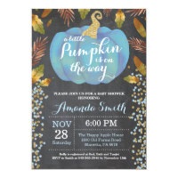 Boy Pumpkin Fall Baby Shower Gold Glitter Invitation