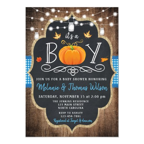 Boy Pumpkin Fall Baby Shower Invitation