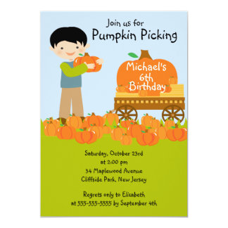 Boy Pumpkin Picking Birthday Party Invitations
