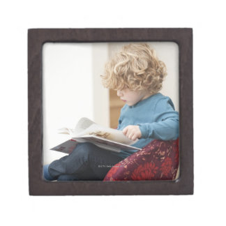 Boy reading a book premium keepsake boxes