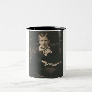 boy reading book mug