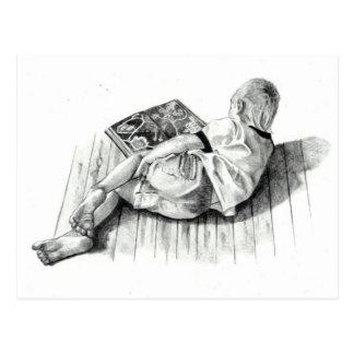 BOY READING BOOK: PENCIL REALISM ART POSTCARD