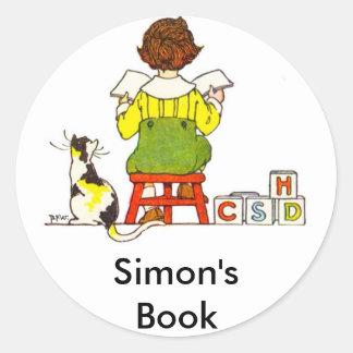 Boy reading classic round sticker