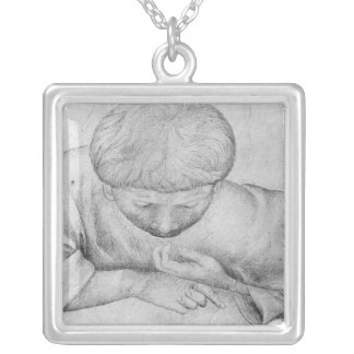 Boy reading, from the The Vallardi Album Silver Plated Necklace