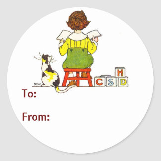 Boy reading Gift Tag Classic Round Sticker