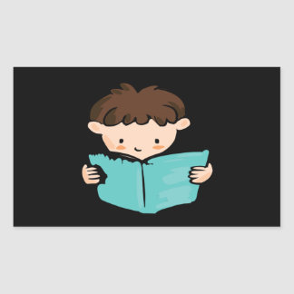 Boy Reading Rectangular Sticker