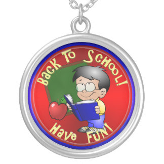 Boy Reading School Book - Back to School Personalized Necklace