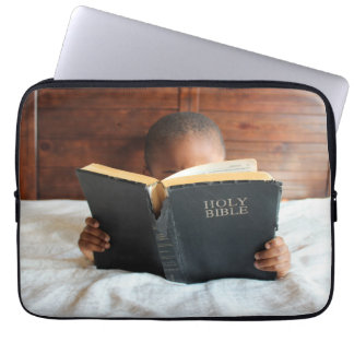 Boy Reading the Holy Bible Computer Sleeve