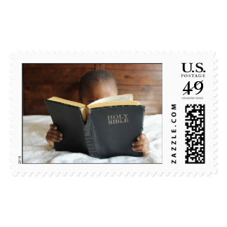 Boy Reading the Holy Bible Postage Stamp