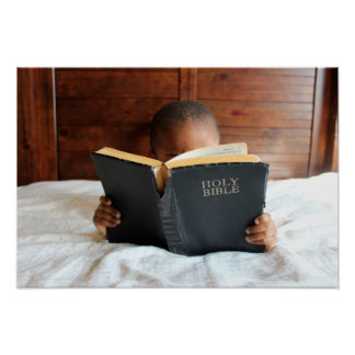 Boy Reading the Holy Bible Poster