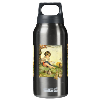 Boy reading under tree with rabbits insulated water bottle