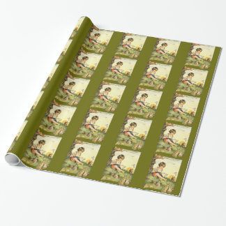 Boy reading under tree with rabbits wrapping paper