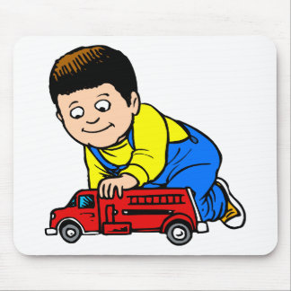 Boy red fire truck mouse pad