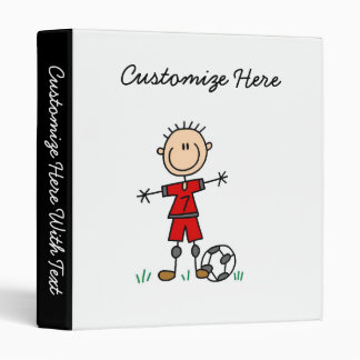 Boy Red Uniform Soccer Player T-shirts and Gifts 3 Ring Binder