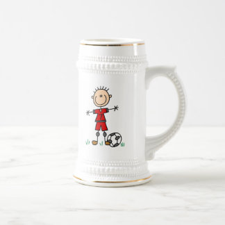 Boy Red Uniform Soccer Player T-shirts and Gifts Beer Stein
