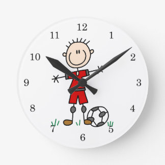 Boy Red Uniform Soccer Player T-shirts and Gifts Round Wallclock