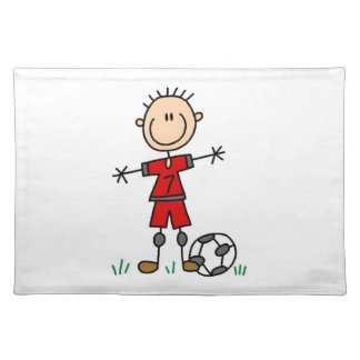 Boy Red Uniform Soccer Player T-shirts and Gifts Cloth Placemat