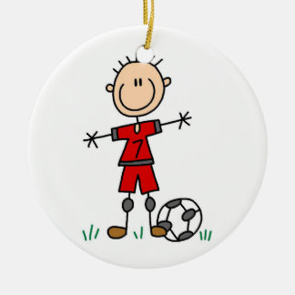 Boy Red Uniform Soccer Player T-shirts and Gifts Double-Sided Ceramic Round Christmas Ornament