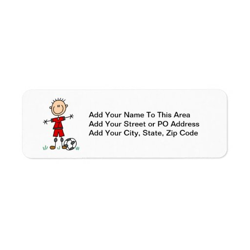 Boy Red Uniform Soccer Player T-shirts and Gifts Custom Return Address Label