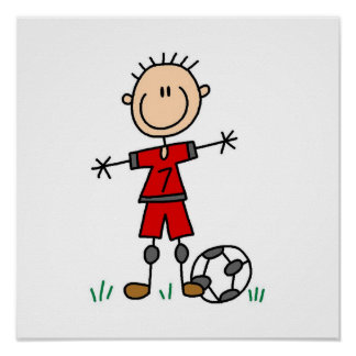Boy Red Uniform Soccer Player T-shirts and Gifts Poster