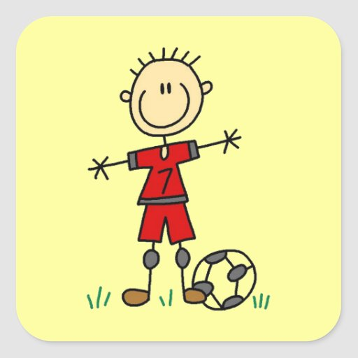 Boy Red Uniform Soccer Player T-shirts and Gifts Square Sticker